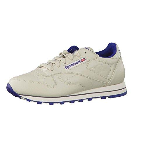 Reebok Damen Classic Lthr 28413 Sneaker, Beige (Ecru/NAV), 37 EU