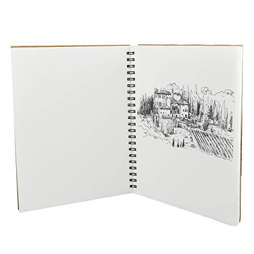 Inntek Cuaderno de Dibujo, Cuarderno Espiral, Bloc de Dibujo, Libro de Boceto, Cuaderno de Boceto 60 Pájinas A4 Papel Grueso para Escribir Dibujar Cubierta Kraft