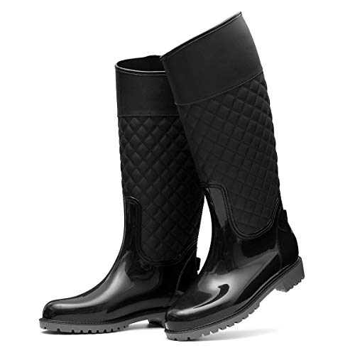 gracosy Gummistiefel Damen Langschaft Regenstiefel Wasserdicht Rain Boots Snow Winter Waterproof Rain Wellies Wellington Boots Flach Casual Garten Stiefel