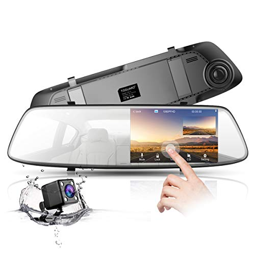 TOGUARD Backup Camera 4.3 Inch Mirror Dash Cam 1080P Touch Screen Front and Rear Dual Lens Car Camera with Parking Assistance, Rear View Mirror Backup Camera with Waterproof Rear View Reverse Camera