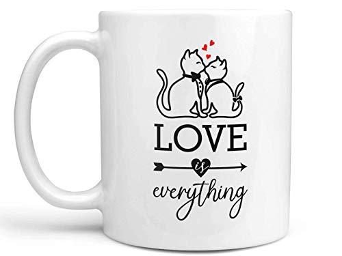 N\A Nuevo listado Taza de café con Gatos Besos el Amor es Todo Taza de café de Regalo de cerámica de 11 oz