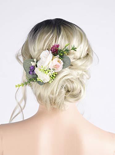 Anglacesmade Brautschmuck, elfenbeinfarbener Blumen-Haarkamm, Blumen-Haarklammer, Burgunderrot, Haarschmuck, für Brautjungfer, Blumenmädchen, Haarschmuck für Frauen und Mädchen