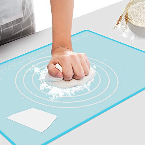 Baking Mat Non Slip Non Stick BPA Free Silicone Pastry Mat for Rolling Dough,Kneading Dough Mat with Scraper (23.6''x15.7'' Transparent-blue)