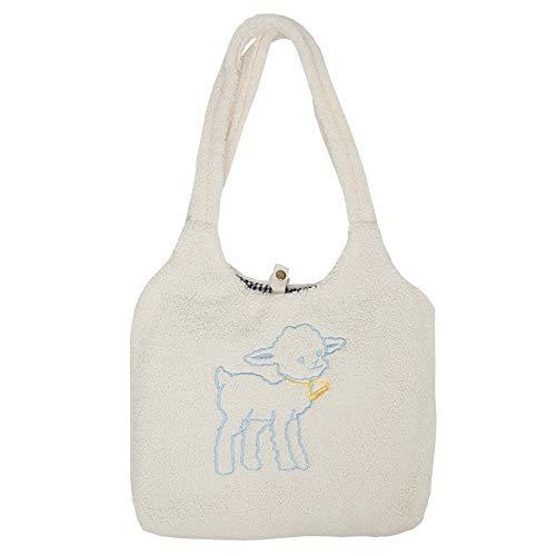 Bolso de hombro de tela para mujer, con forma de cordero simple, bolso de lona de gran capacidad, bordado para niñas, color beige
