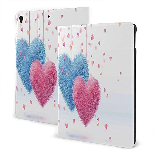 Case Fit for iPad 8th/7th Gen, iPad Air3 & Pro Print Theme - Valentines Day Decor Fluffy Romantic Toy Like Hanging Love Theme Hearts Design Artwork Pink and Blue