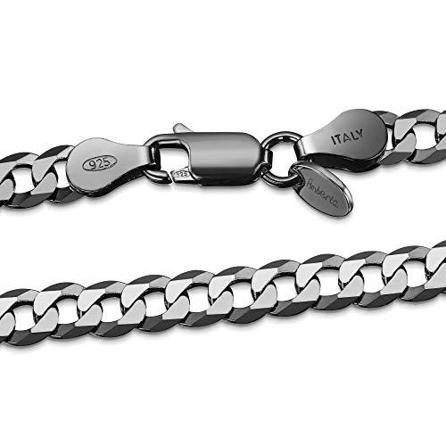 Schwarz Rhodiniert 925 Sterling Silber Halskette für Mann - Panzerkette - Dicke 5 mm - Länge 65 cm