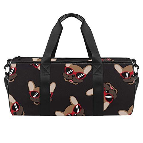 LAZEN Hombro Handy Sports Gym Bags Travel Duffle Totes Bag para Hombres Mujeres Divertido Bulldog Francés Sonrisa con gafas de sol