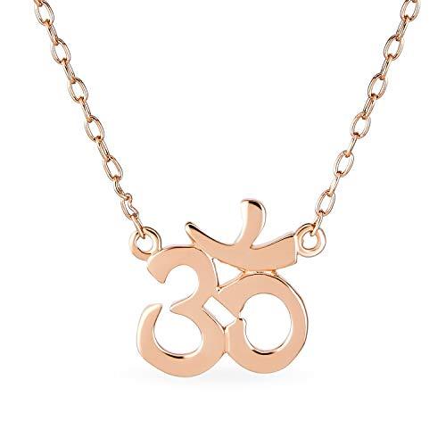 Bling Jewelry Sanskrit Symbol Yoga Spiritual Harmony Aum Om Ohm Pendant Necklace for Women 14K Gold Rose Plated 925 Sterling Silver