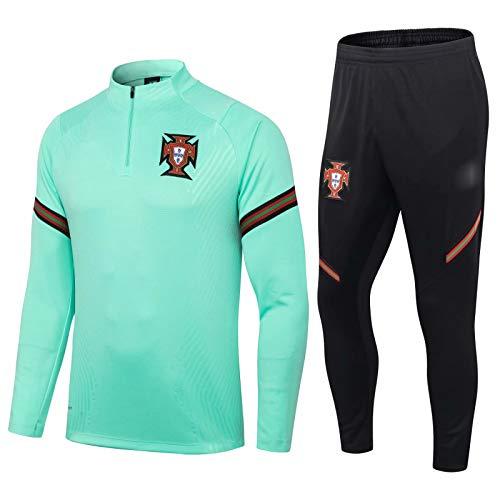 QJY Portugal Camiseta Oficial de fútbol Jersey de fútbol para Hombre Medio Cremallera y Pantalones Traje Deportivo (Size : L)