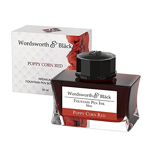 Wordsworth and Black Fountain Pen Ink Bottle (50 ml) Premium Luxury Edition, [Poppy Corn Red] Fountain Pens Bottled Ink; Classic Designed Bottle Smooth Flow 50 ml