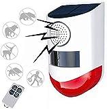 Luce stroboscopica solare con telecomando Rilevatore di sensore di movimento Luce di allarme solare, luce sirena di sicurezza acustica esterna 120db, IP67 impermeabile per casa, fattoria, cortile