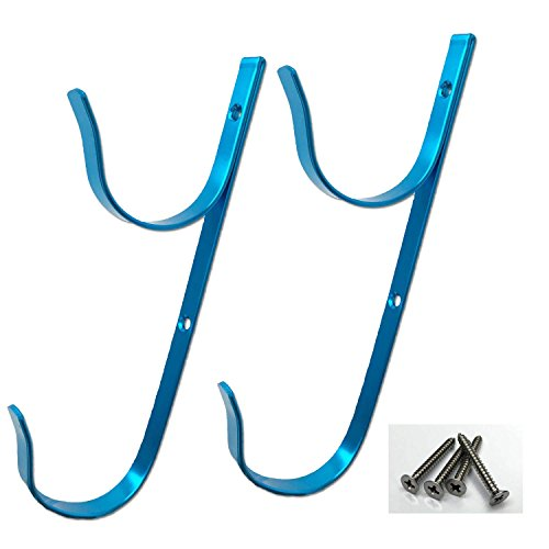 Pool Supply Town PoolSupplyTown Swimming Pool Aluminum Pool Hanger Set for Telescopic Pole Leaf Skimmer & Rake Brush Vacuum Hose- Blue Color