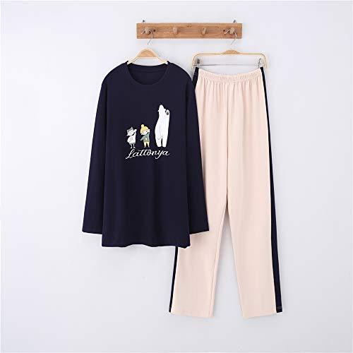 Damen Baumwolle Schlafanzug Pyjama Set Lang Zweiteilige,Paar Baumwolle Langarm Männer und Frauen Anzug Home Service A-8 männlich XXL