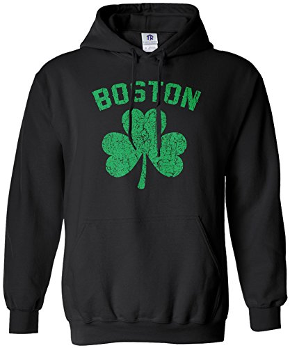 Threadrock Men's Green Boston Shamrock Hoodie Sweatshirt XL Black