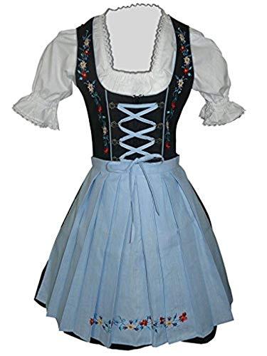 Di06bls Mini Dirndl, 3 teiliges Trachtenkleid in schwarz blau, Kleid mit Bluse und Schürze, Rocklänge 47-58 cm, Gr. 34