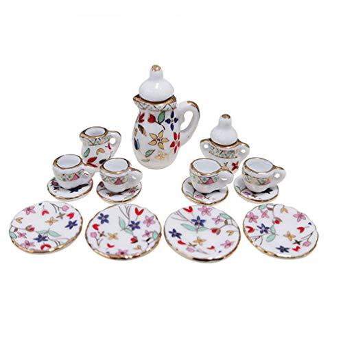 TOYMYTOY 15 Piezas Kit de Té en Miniatura Juego de Tazas de Té de Cerámica Tetera Vintage Niños Juego de Imaginación Juguete Casa de Muñecas Accesorios de Cocina para Niños Pequeños Regalo