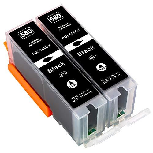 ESMOnline 2 Cartuchos de Impresora XXL compatibles (Negro) como Repuesto para Canon PGI-580BK