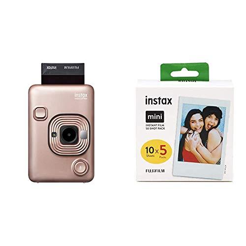 Fujifilm Instax Mini LiPlay Blush Gold & Mini Instant Film, 5X 10 Blatt (50 Blatt), Weiß