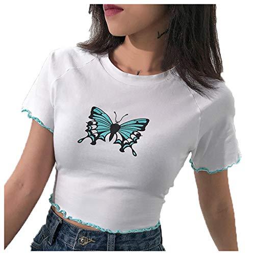 Damen T-Shirt Sommer Freizeit Bluse Butterfly Druck Rüschen Streetwear Top Sexy Rundhals kleines T-Shirt