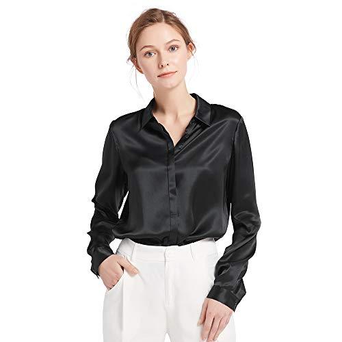 LilySilk Damen Hemdbluse Seide Sommerliche Damenbluse Shirt mit verdeckter Knopfleiste von 22 Momme (XXL, Schwarz) Verpackung MEHRWEG