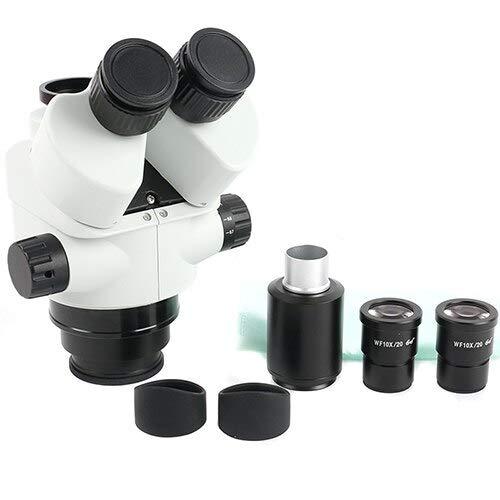 ZANYUYU 7x-45X Microscopio trinocopio de SIMUL-FOCUL Zoom Cabezal de microscopio estéreo + 0.5X 2.0X Lente Auxiliar (Color : 7X 45x)
