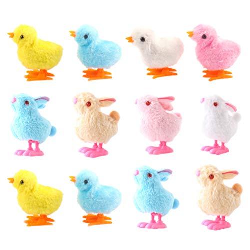 TOYANDONA 12 Stück Plüsch Küken Und Kaninchen Wind Up Spielzeug Ostertier Uhrwerk Spielzeug Kinder Party Gefälligkeiten (Zufällige Farbe)