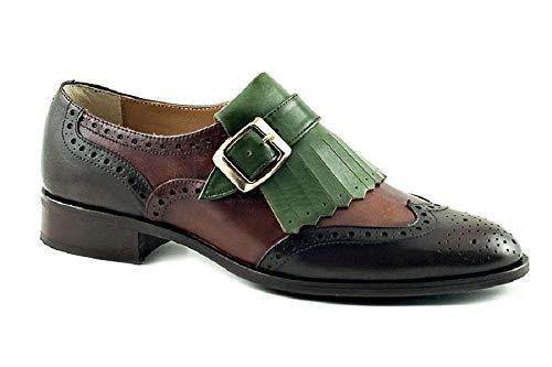 Vitelo 8162, Zapato Abotinado Mujer Piel Testa/Verde, Hebilla