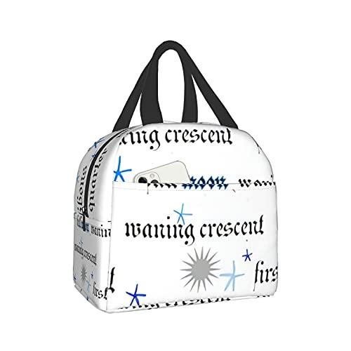 mengmeng Moon Phases Text – Bolsa de almuerzo aislada con luz lunar para mujer, bolsa enfriadora a prueba de fugas, lonchera para hombres y niñas y niños al aire libre picnic trabajo