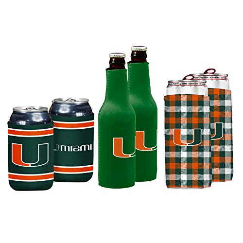 NCAA Logo Brands Miami Hurricanes Coozie Variety Pack, Team Color
