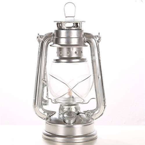 YIKE Lantern olielamp Vintage/Kerosin-lamp, lampenkap van glas, 24,5 cm, geschikt voor de inrichting van het huis, tent, outdoor, bar binnen (zilver)
