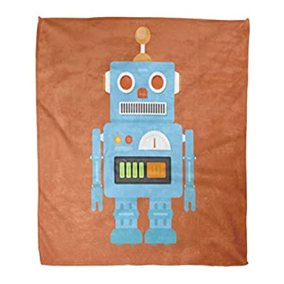 Golee Throw Blanket Toy Hipster Vintage Robot Retro Heart Alien Android Boy Cartoon 60x80 Inches Warm Fuzzy Soft Blanket for Bed Sofa