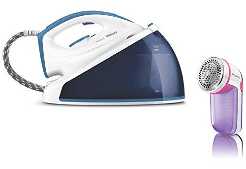 Philips GC6635/27 SpeedCare kompakte Dampfbügelstation 5,0 Bar, 2.400 W, 170 g, weiß / blau