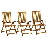 Tidyard Verstellbare Gartenstühle 3 STK.Gartenstuhl-Set 57 x 71 x 110 cm aus Holz,Holzstuhl-Set Stühle,Rückenlehnen In 5 Positionen verstellbar,Witterungsbeständig,Massivholz Akazie