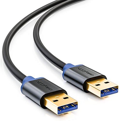 deleyCON 1m USB 3.0 Super Speed Kabel - USB A-Stecker zu USB A-Stecker - Übertragungsraten bis zu 5Gbit/s - Schwarz/Blau