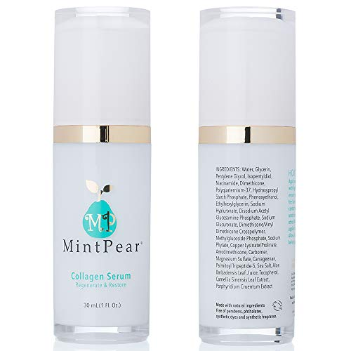 Collagen Peptides Face Serum 30 ml - Anti Aging Skin Care Facial Serum - Collagen Booster Tri Peptide Firming Serum   Wrinkles Reducer & Fine Lines Improves Elasticity