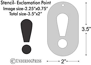 Stencil- Exclamation Point, 2.25x0.75 Inch Image on 3.5x2 Border, Size 1