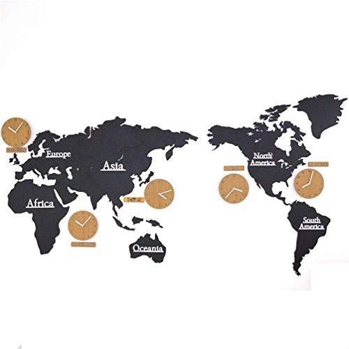 Ybzx Kreative DIY Holz Wanduhr Weltkarte Große Wandaufkleber Uhr 3D Runde Mute Hängende Uhr Europäischer Moderner Stil Kreative Home Wanddekoration - 220 cm, schwarz
