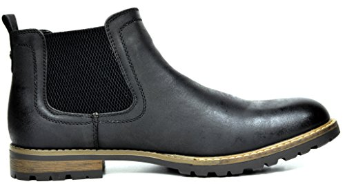 Bruno Marc Men's Philly-2 Black Leather Lined Chelsea Dress Ankle Boots – 9.5 M US