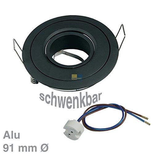 Rutec ALU55552 UNIVERSAL Lampenhalter Einbaustrahler Deckenleuchte Rund Schwarz Alu schwenkbar IP20 für MR16 GX5.3 Halogenlampe