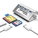 Rocketek USB 3.0 Concentrador USB 3.0 Y Lector De Tarjetas CF Combinación, Multifunción 6 en 1 Concentrador USB 3.0, 3 Puertos USB 3.0, Ranura CF / SD / TF, Compatible con Windows / Mac / Linux