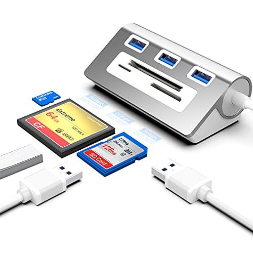 Rocketek USB 3.0 Hub Und CF Kartenleser Kombination, Aluminium-Bus-Betriebener 6 in 1 Multifunktions USB 3.0 Hub Adapter, 3 USB 3.0-Anschlüsse, CF/SD/TF-Steckplatz, Kompatibel mit Windows/Mac/Linux