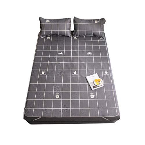 RENTEG Mat ice silk mat 1.8m bed washable folding 1.5 m summer single double student dormitory air conditioning soft mat Send pillowcase (PATTERN : Mr. Teacup, Size : 150×200cm)