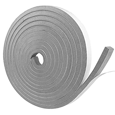 Foam Insulation Tape Self Adhesive, Weather Stripping Door Seal Strip for Doors and Windows, Sliding Door, Air Conditioning, HVAC, Sound Proof, Dust Proof, Cooling, Seal (1/2In x 3/8In x 16.5Ft, Grey)