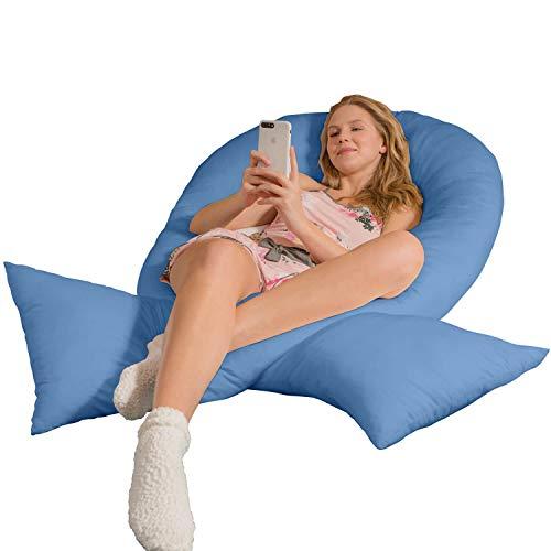 Traumreiter Jumbo XXL Seitenschläferkissen mit Bezug mittel-blau I Schwangerschaftskissen U Form Full Body Pillow Seitenschläfer Kissen für Schwangere Lagerungskissen