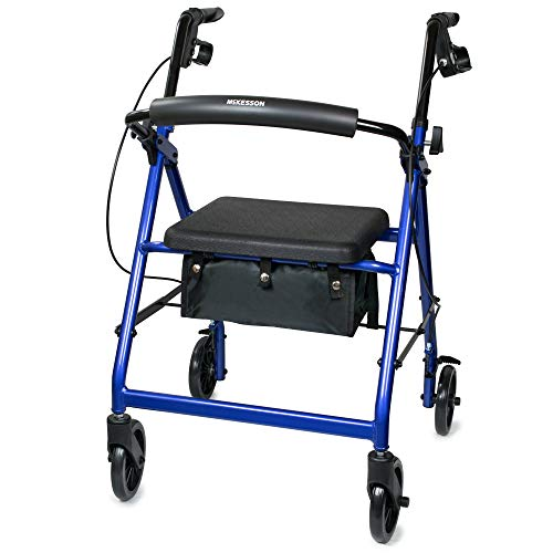 McKesson Rollator Folding Aluminum 300 lbs. 32 to 37 inch Handle Height 146-R726BL