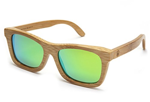 Tree Tribe Bamboo Sunglasses with Polarized Lens and Floating Frames - Green