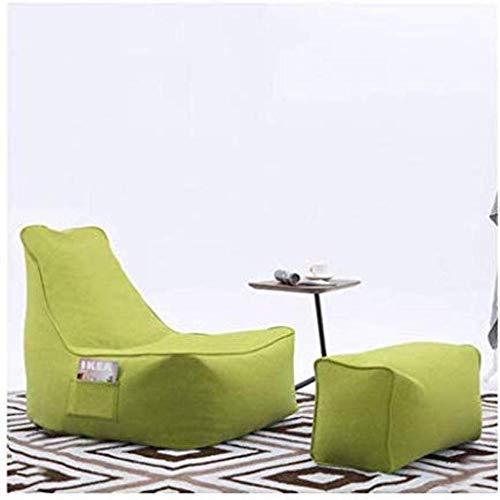 LXH-SH Sofá Perezoso Sofá Perezoso del Bolso de Haba sofá Tatami Perezoso Creativo Tela Silla del Dormitorio del sillón reclinable cómodo, Verde Sofá Lento