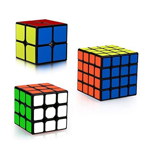 Coolzon Magic Cube Set, 3 Pack Speed Magic Cube Set 2x2 3x3 4x4 Pyraminx Triangle, Easy Turning 3D Puzzle Cube Games Toy Stocking Fillersfor Kids Adults