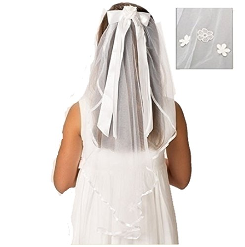 Roman Polyester and Plastic Charlotte Veil First Communion Giftware Baby Hair Accessory,White,25 Inches Long