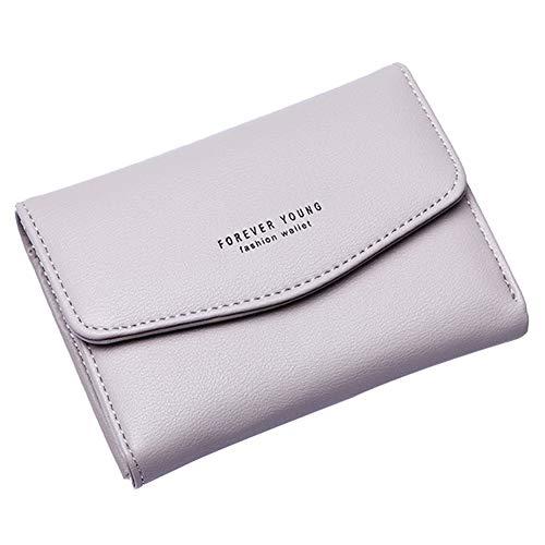 Gysad Geldbörse Mini Geldbeutel Damen Portemonnaie Mode-Einfach-Schnalle Pouch Wallet für Münzen,Kleingeld,Schlüssel und kleine Sache Damen Mädchen Geschenk(Grau) 13.5cm*9.5cm